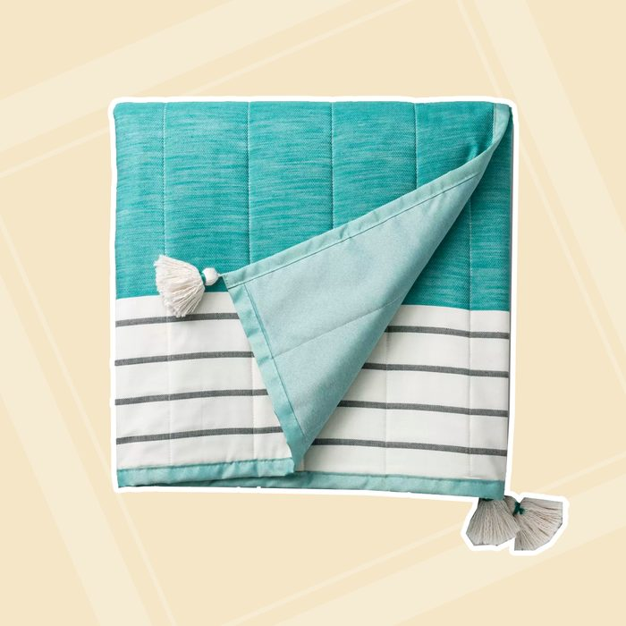 Bold Stripe Outdoor Picnic Throw Blanket Teal Hearth