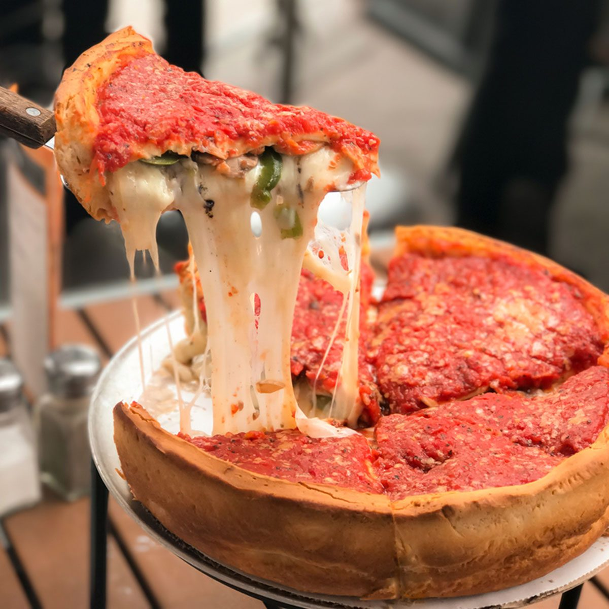 Cheese pizza, Chicago style deep dish italian cheese pizza with tomato sauce.