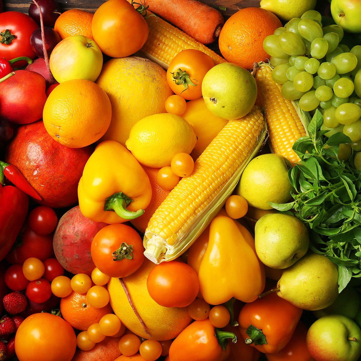 Raw veggies and fruits