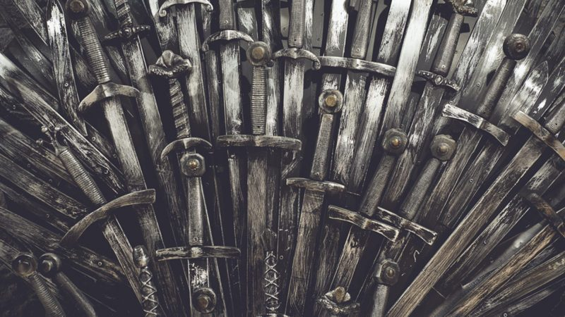 Metal knight swords background.