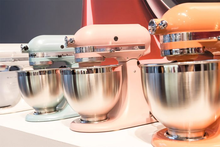 MILAN, ITALY - JANUARY 26: KitchenAid stand mixers on display at HOMI, home international show and point of reference for all those in the sector of interior design on JANUARY 26, 2018 in Milan.; Shutterstock ID 1011387661; Job (TFH, TOH, RD, BNB, CWM, CM): TOH kitchenaid walmart line