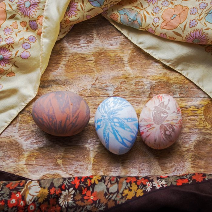Hand decorated, colorful, pastel, Easter eggs.