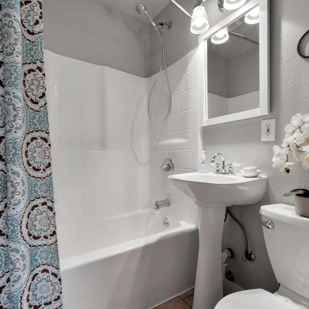 Clean, white bathroom