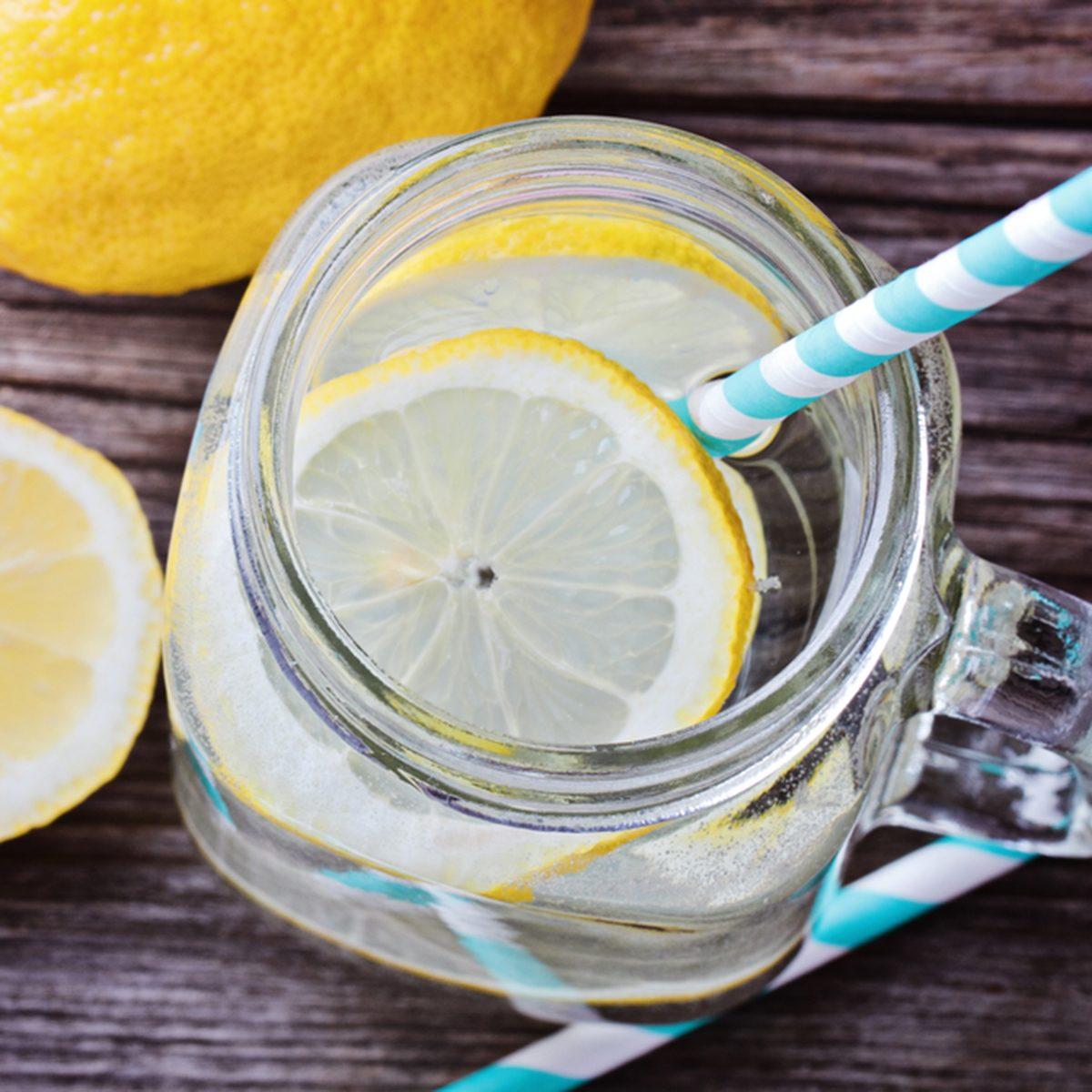Lemon water top view