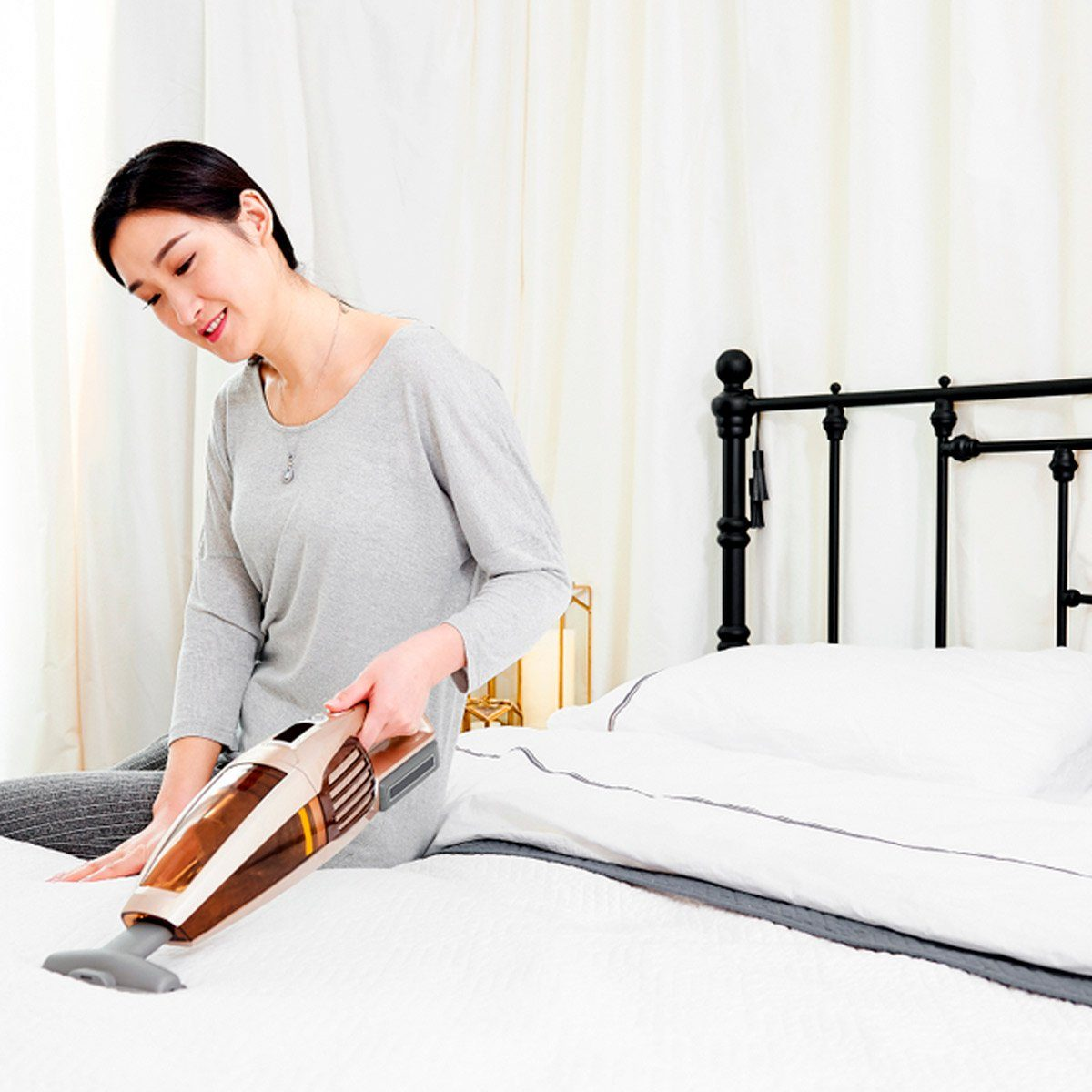 Vacuuming comforter