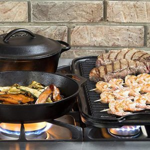 cast iron cookware on a stove