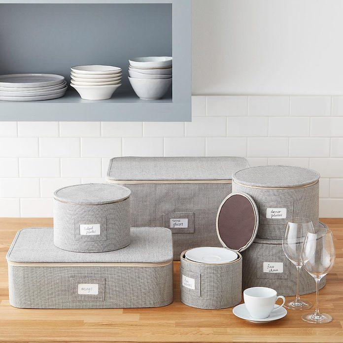 kitchen storage & organization 4 Piece Brown Twill Plate And China Storage