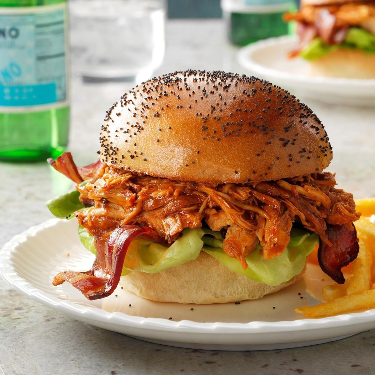 BBQ Bacon Pulled Chicken Sandwiches