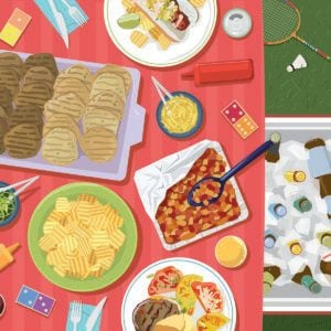 Illustration of assorted food on a picnic table