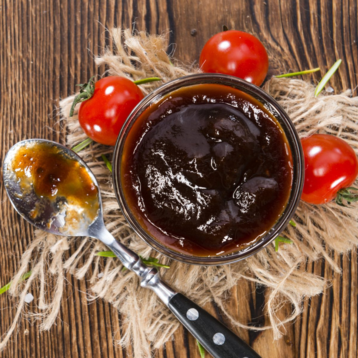 Homemade Barbeque Sauce with Tomatoes, Smoked Salt and fresh Herbs