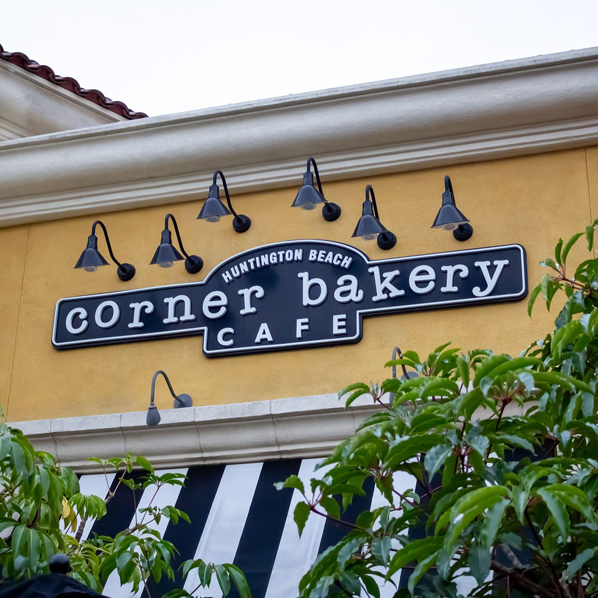 A store front sign for the restaurant known as Corner Bakery Cafe