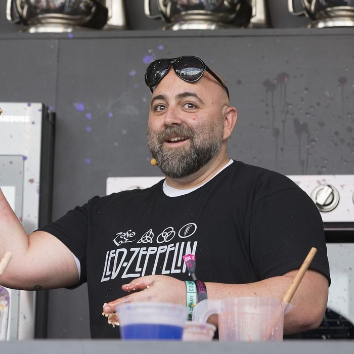 Duff Goldman interacts with the crowd at the culinary stage during BottleRock in Napa, California.
