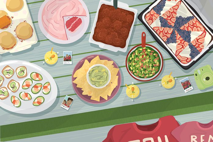 Illustration of assorted food on picnic table with scattered polaroid photos and matching family shirts on bench