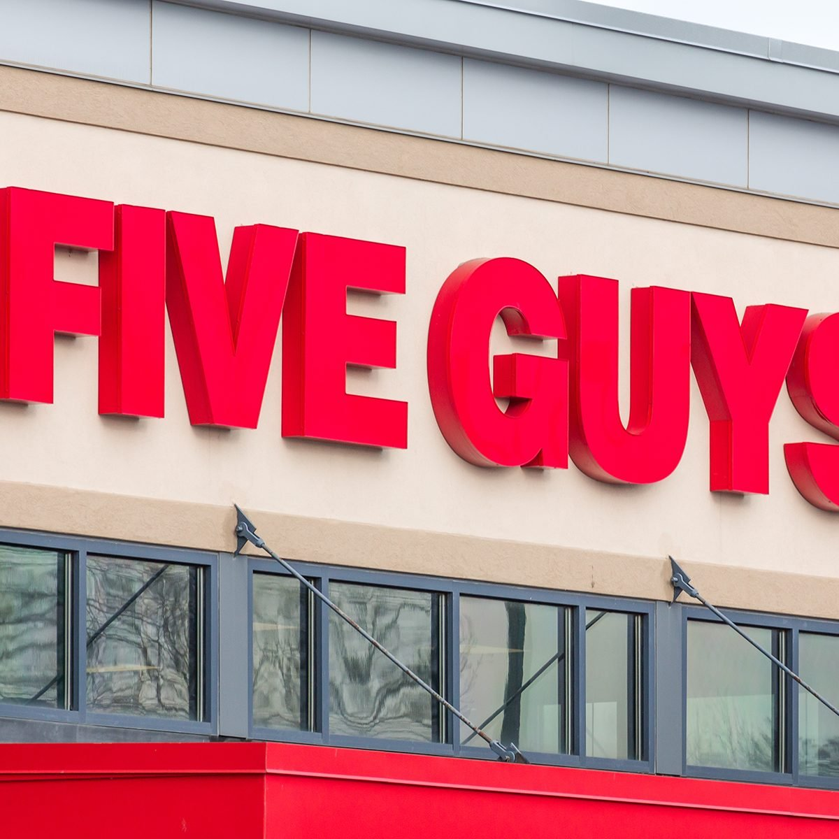 Five Guys Burgers and Fries restaurant exterior.