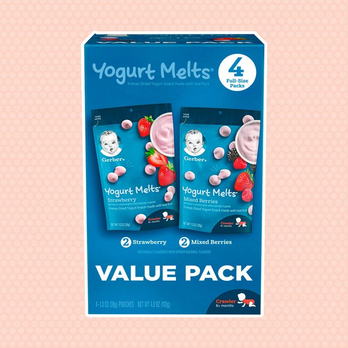 Gerber Yogurt Melts Freeze-Dried Yogurt Snacks, Strawberry/Mixed Berries, 1 oz. Pouch (Pack of 4)