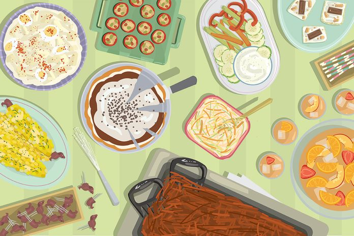 Illustration of assorted potluck food on a green table