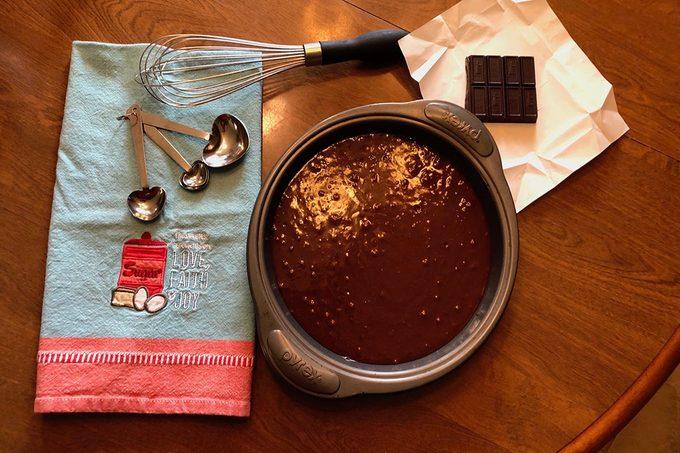 Making a Baked Alaska, preparing the brownie