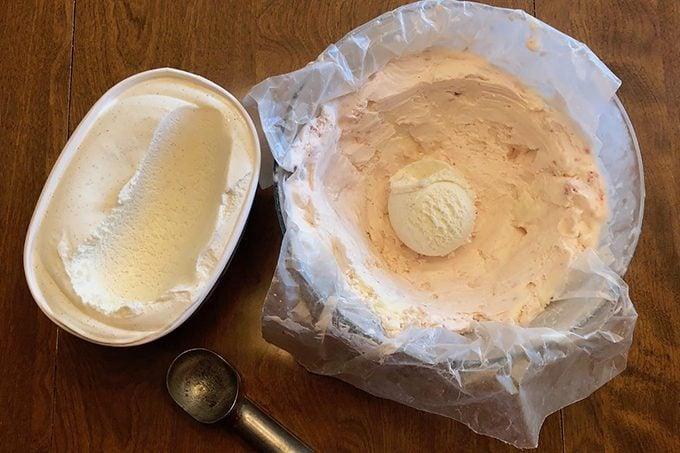 Making a Baked Alaska, softening the ice cream