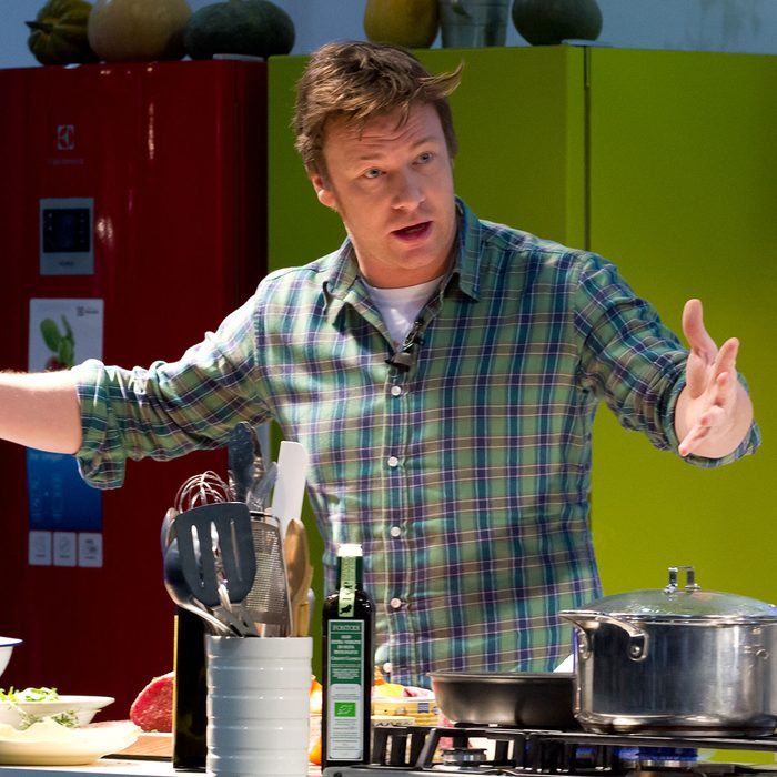 Jamie Oliver conducts a cooking demonstration at the Excel center in London, Friday, December 7, 2012 in London, UK