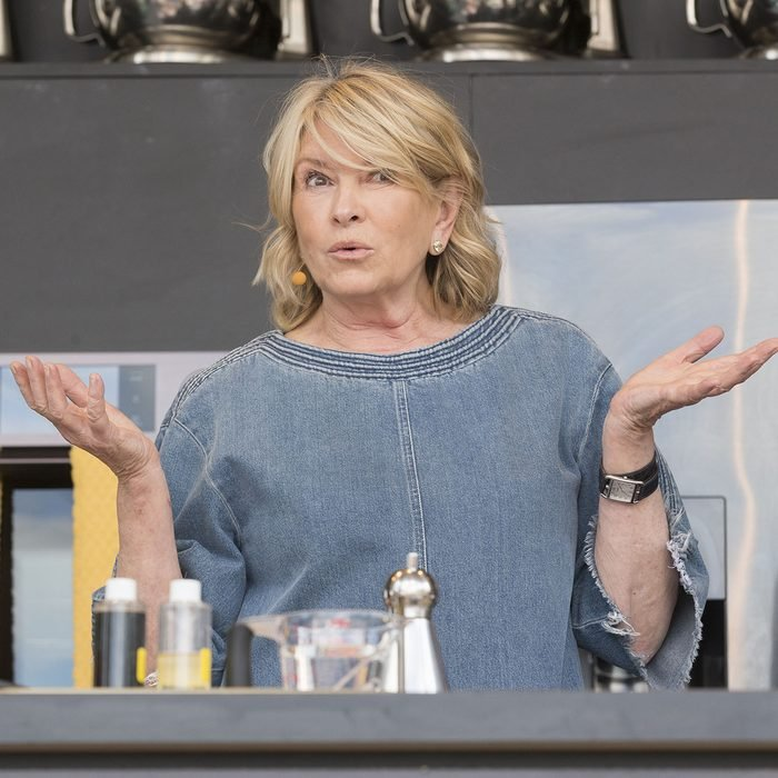 Martha Stewart interacts with the crowd at the culinary stage during the BottleRock Napa Valley Music and Food Festival in Napa, California.