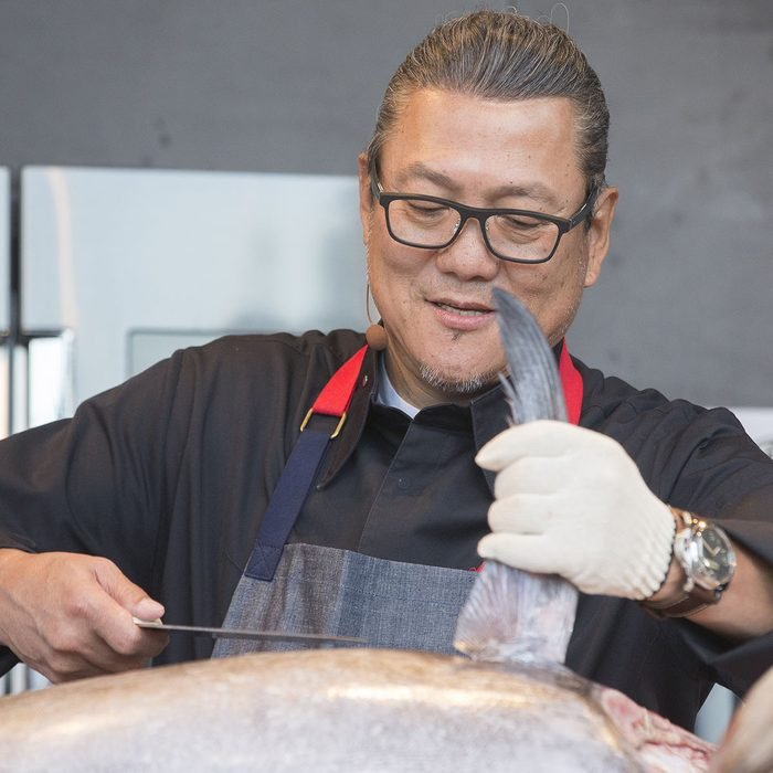Masaharu Morimoto cuts up a tuna at BottleRock in Napa, CA.