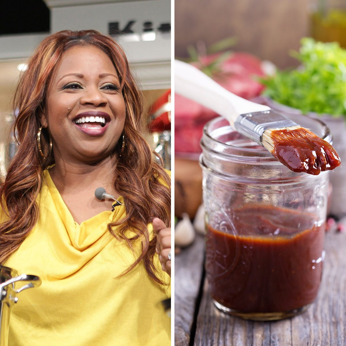 Barbeque sauce with a basting brush in a jar; Shutterstock ID 408155632; Job (TFH, TOH, RD, BNB, CWM, CM): TOH, Mandatory Credit: Photo by Angela Pham/BFA/REX/Shutterstock (5720667bn) Patrick Neely, Gina Neely NYCwff '12 Culinary Demos, New York, USA - 13 Oct 2012