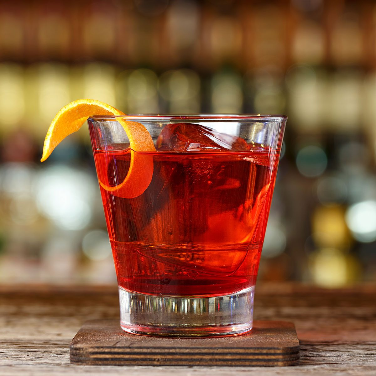 Classic cocktail Negroni with gin, campari and martini rosso