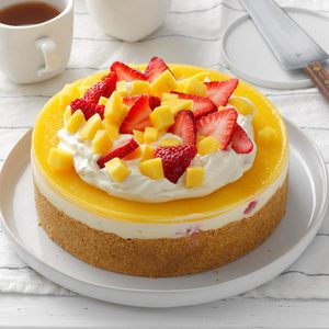 No-Bake Mango Strawberry Cheesecake