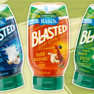 Blasted Ranch Bottles on Green Background