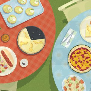 Illustration of assorted foods on two circular tables, one red and one blue