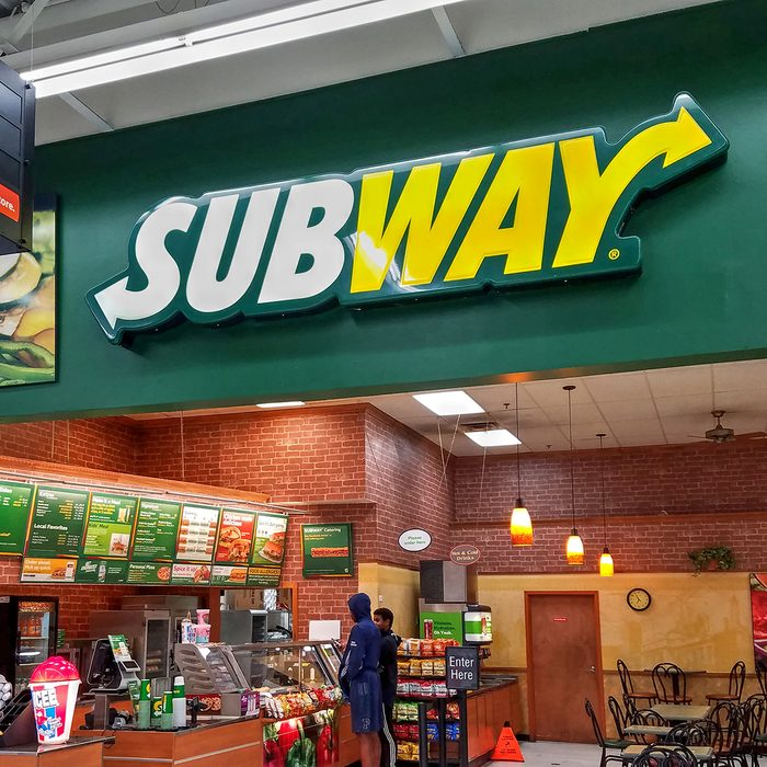 Subway sandwich restaurant shop located inside Walmart retail store
