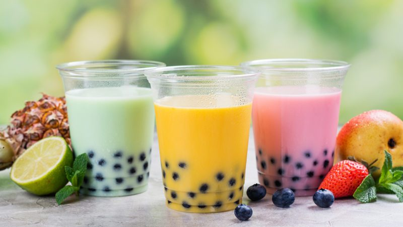 Variety of homemade bubble tea with tapioca pearls