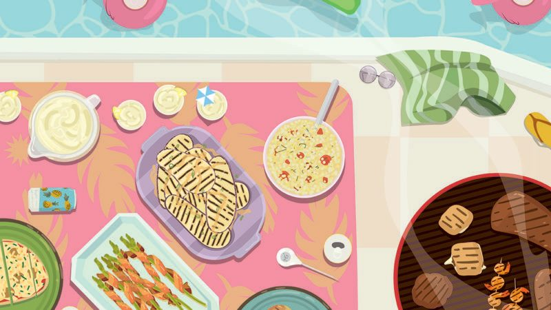 Illustration of assorted food on a pink tropical print table beside a round grill with various foods. A pool on the top with various pool floaties.
