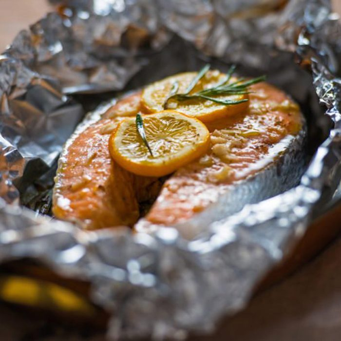 Fish in foil packet