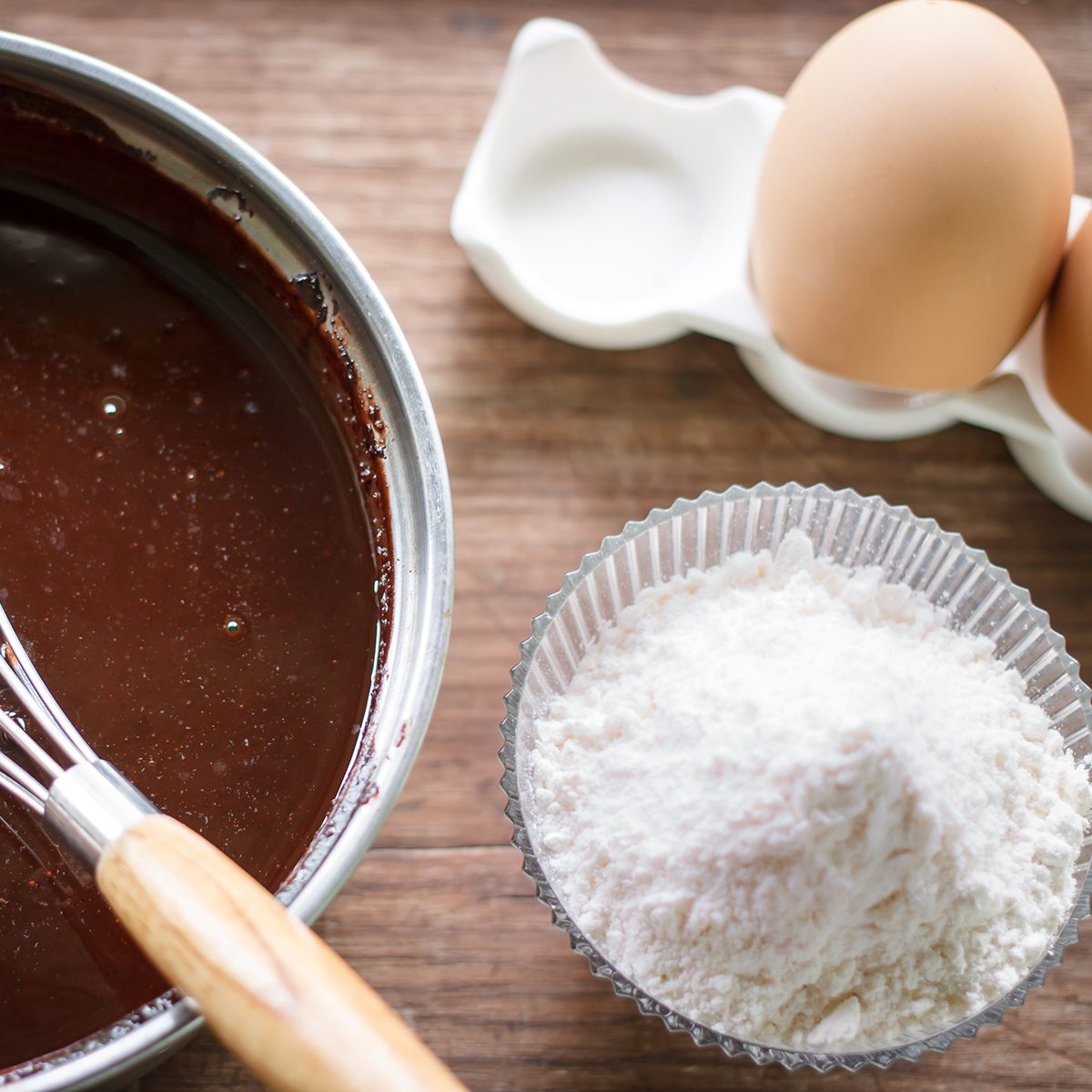 mixed yolk eggs, flour and sugar prepare for baking cake or bake
