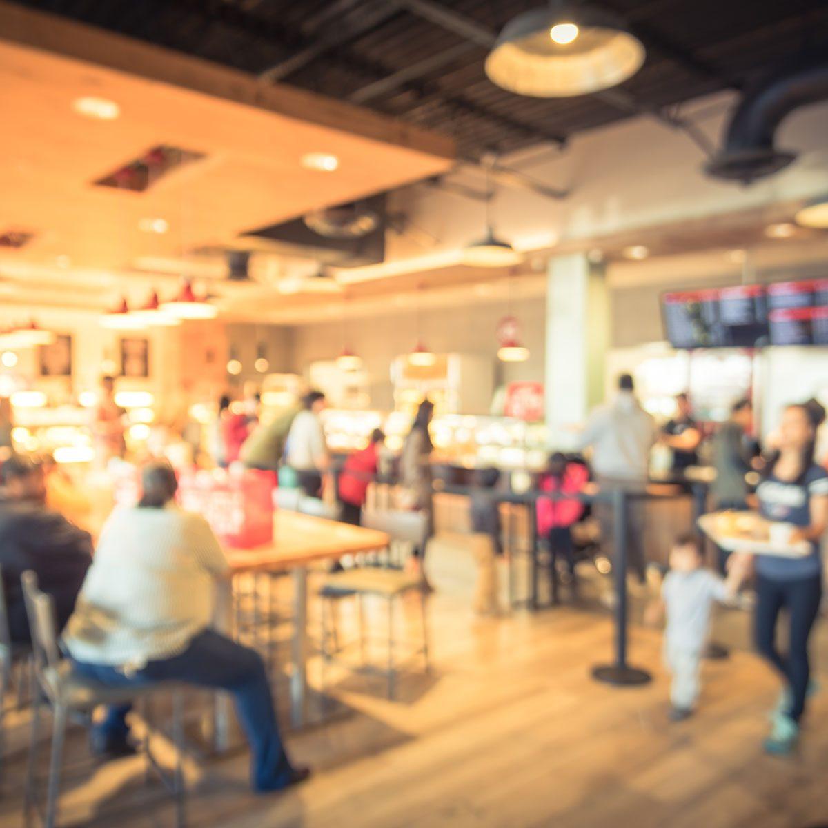 Blur modern hipster open coffee shop, self-serve bakeries in USA.