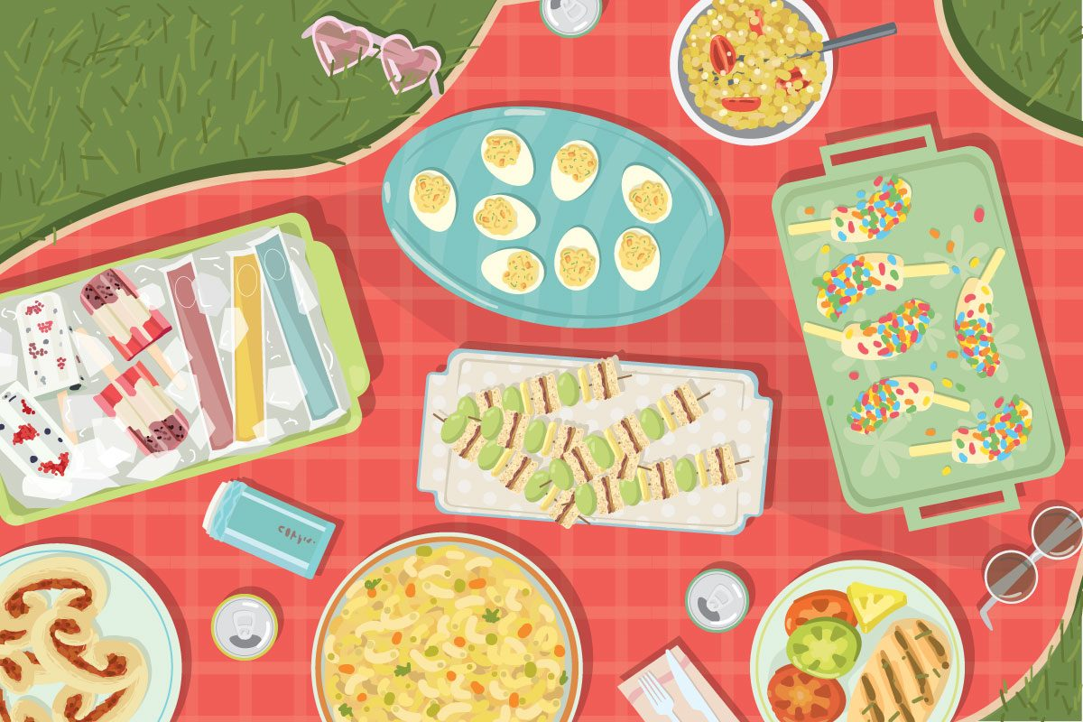 Illustration of assorted lighter foods on a red gingham cloth laid upon the grass