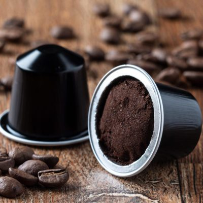 Single coffee pod filled with grounds