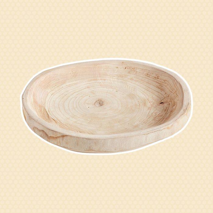 Round Wooden Decorative Bowl