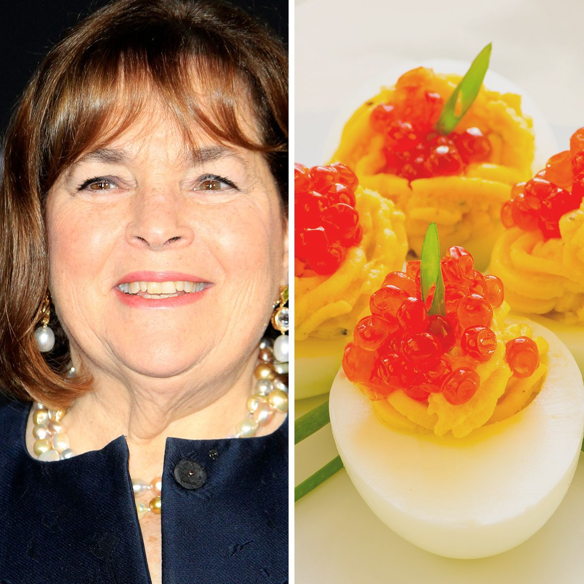 """LOS ANGELES - NOV 29: Ina Garten at the """"Mary Poppins Returns"""" Premiere at the El Capitan Theatre on November 29, 2018 in Los Angeles, CA; Shutterstock ID 1245232378; Job (TFH, TOH, RD, BNB, CWM, CM): TOH Deviled eggs with red caviar; Shutterstock ID 116142838; Job (TFH, TOH, RD, BNB, CWM, CM): TOH"""