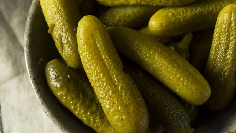bowl of dill pickles