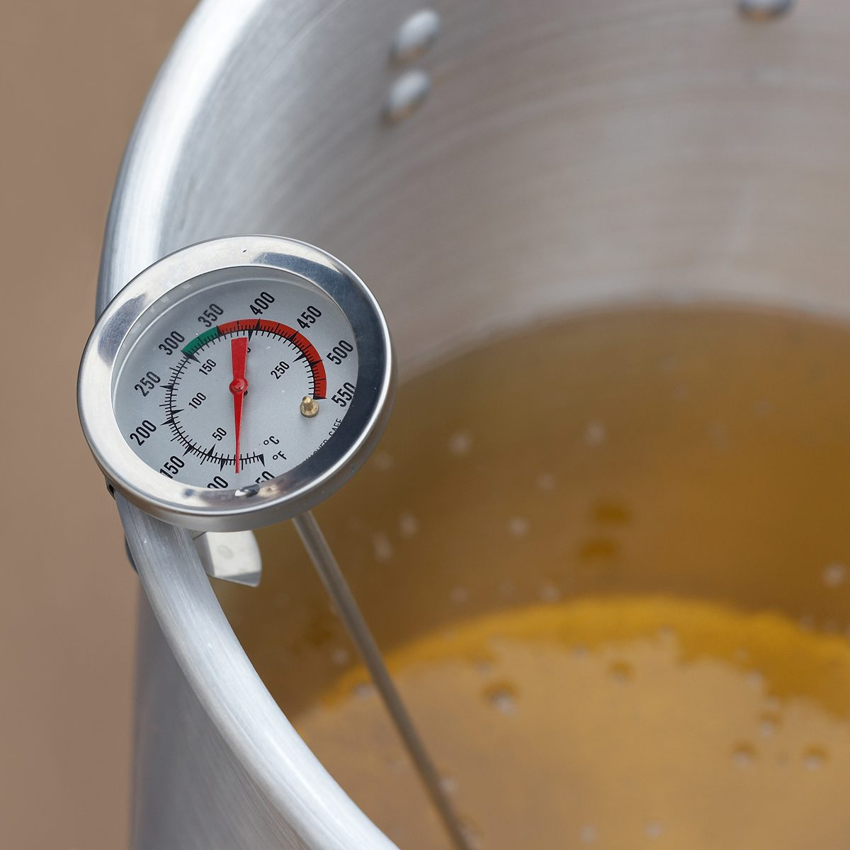 Thermometer in a pot of oil