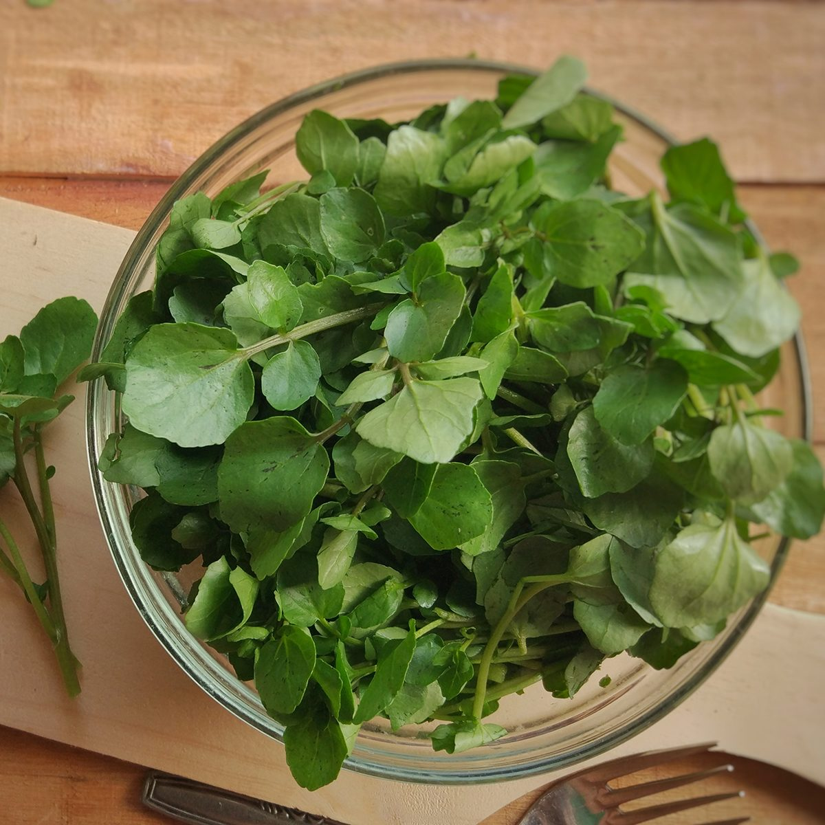 Fresh Watercress on bowl above wooden chopping board