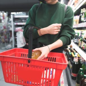 girl groceries basket