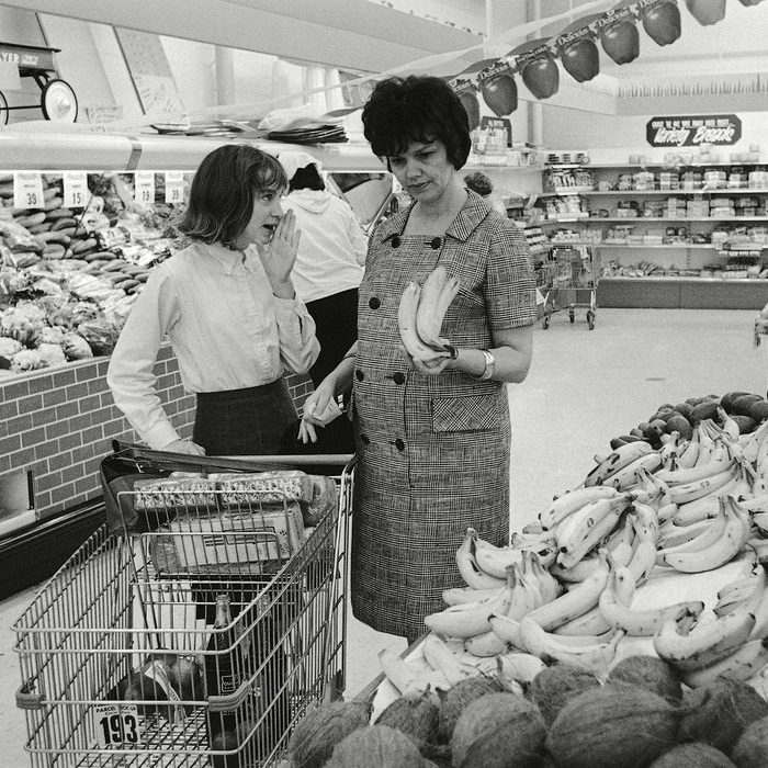 Mandatory Credit: Photo by Ed Kolenovsky/AP/REX/Shutterstock (6639878a) Marilyn Lovell, Barbara Lovell Mrs. James A. Lovell, wife of the pilot of Gemini 7 spacecraft, gets a word of advice from daughter, Barbara, 12, on the purchase of bananas during a food shopping to a supermarket at suburban Seabrook, Texas Mrs. Marilyn Lovell with Barbara Lovell, Houston, USA