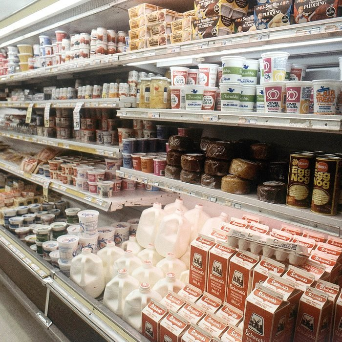 Mandatory Credit: Photo by Crb/AP/REX/Shutterstock (7331873a) Dairy section of a grocery store shown in 1981 Dairy Grocery Store