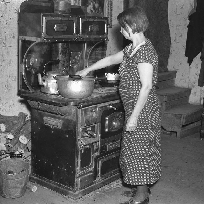 Wife of Tenant Farmer and Mother of Twelve Children in Kitchen, near Battleground, Indiana