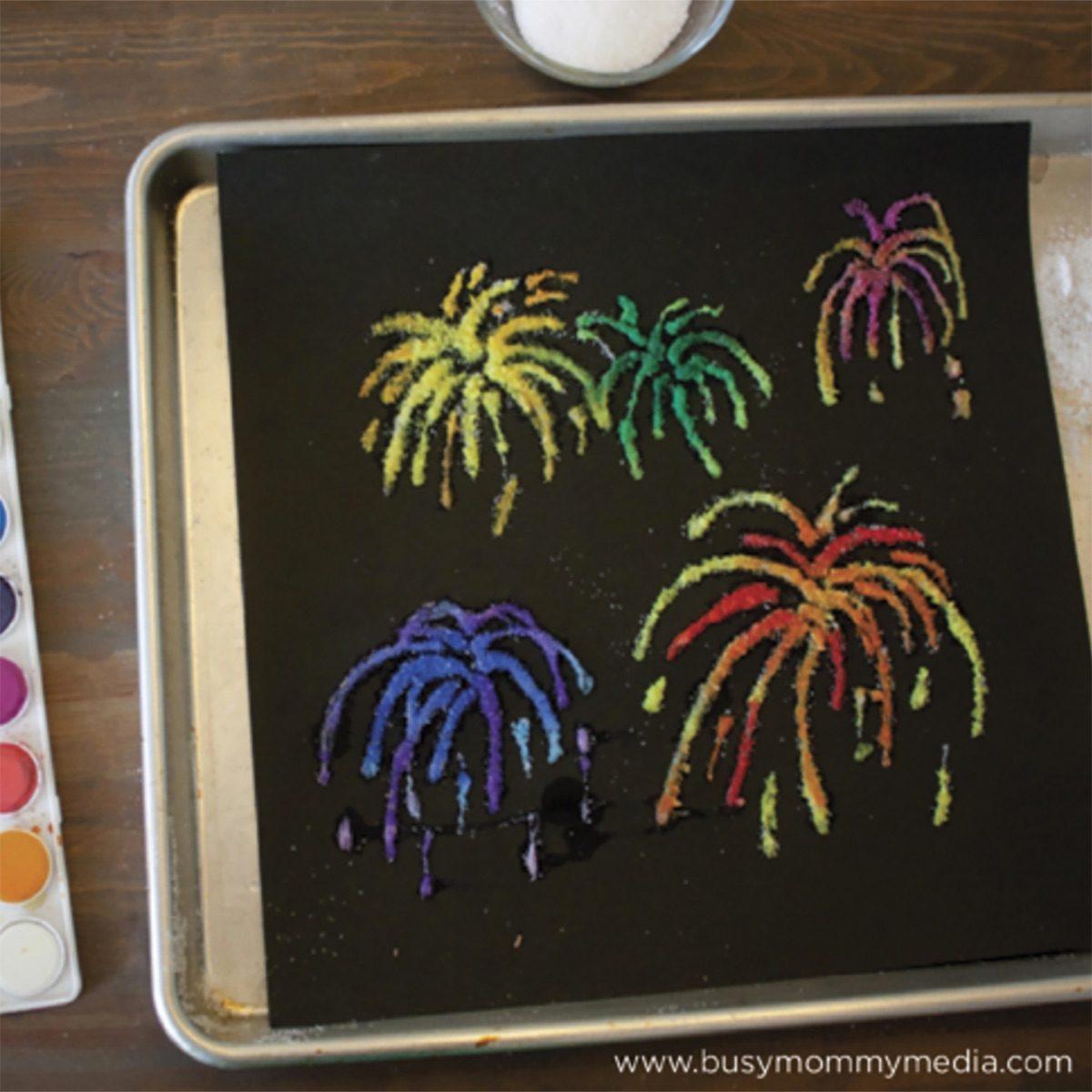 Firework salt painting