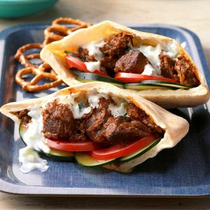 Pressure-Cooker Lamb Pitas with Yogurt Sauce