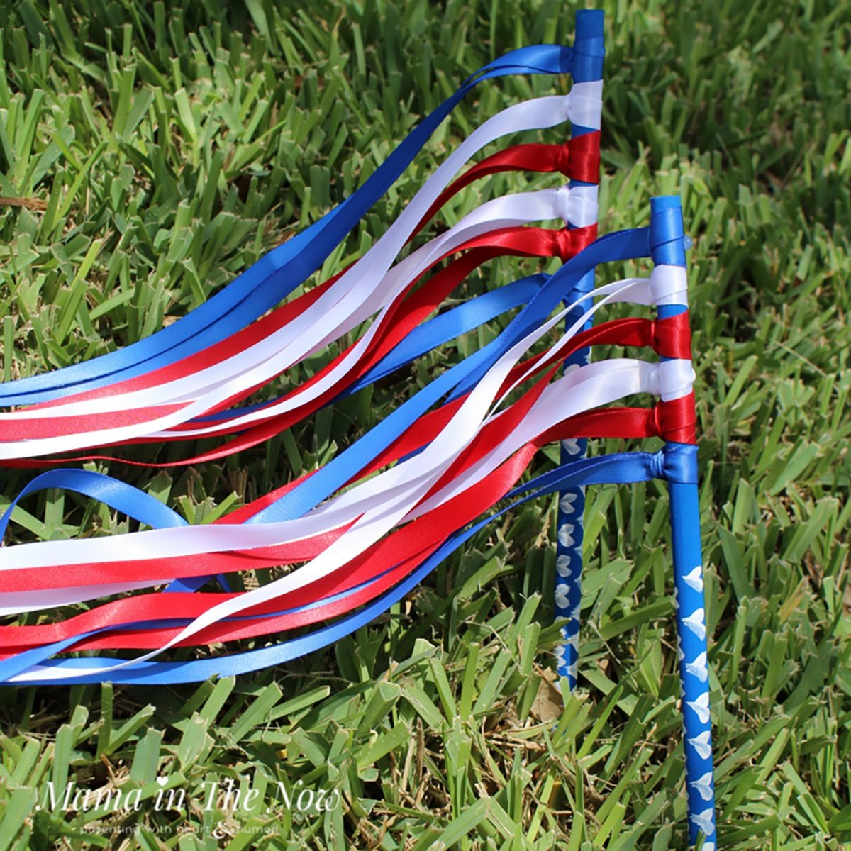 red, white and blue ribbon wand